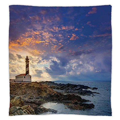 iPrint Super Soft Throw Blanket Custom Design Cozy Fleece Blanket,Lighthouse Decor,Cap de Favaritx Sunset Lighthouse Cape in Mahon at Balearic Islands of Spain Coast,Perfect for Couch Sofa or Bed by iPrint