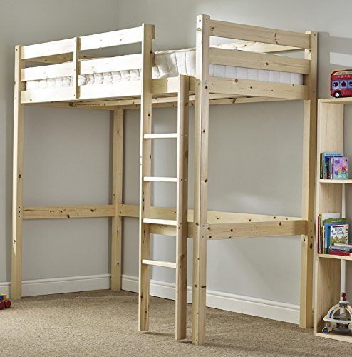 Short Length Loft Bunk Bed with sprung- Heavy Duty 2ft 6 Small single wooden high sleeper bunkbed - CAN BE USED BY ADULTS by Strictly Beds Icarus Loft Bunkbed