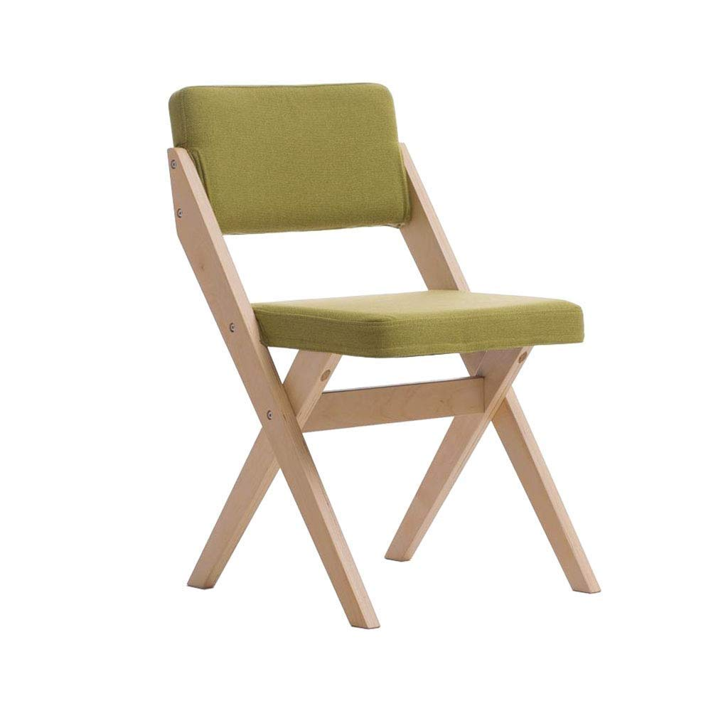 Folding Chair Wooden Chair Fabric Dining Chair Green Computer Chair Office Meeting Chair
