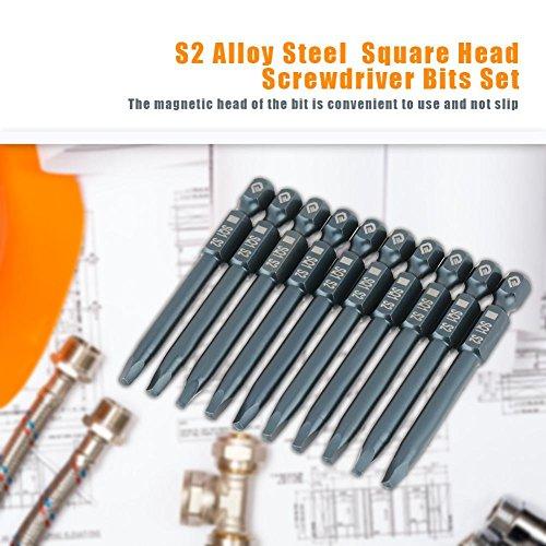 10pcs S2 alloy steel Square Head Screwdriver Bits Kit,6.3mm 1/4 Hex Shank Magnetic 65mm S2 alloy steel Square 2.5mm Head Screwdriver Bits Kit by Walfront (Image #1)