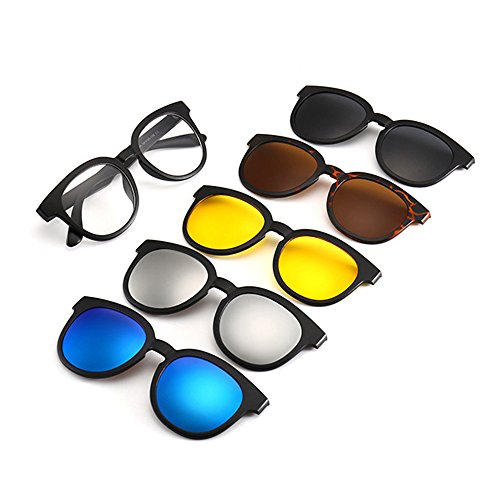 Memoryee Gafas sol de magnético desmontables Unisex Frames clip TR 9010 Ultra Light polarizadas 5Pcs Set Retro con rTwXqrxUWt