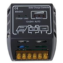 Urparcel 20A Solar Panel Charger Controller Regulator 120W (12V) 240W (24V).