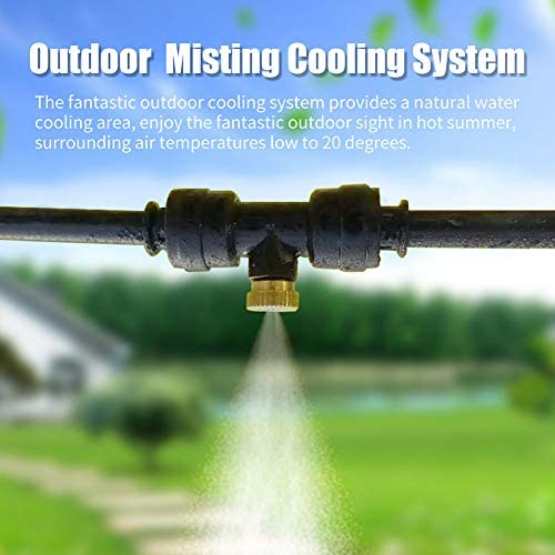 shinea Misting Cooling System Water Misters Fan for Cooling Outdoor Patios.33FT 10M Mist Line 10 Brass Misting Nozzles 3 4 PVC Adapter for Outside Patio Garden Greenhouse Trampoline Sprinkler
