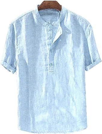 Camisa de lino para hombre, camiseta de manga corta, para verano, ocio, corte regular, informal, transpirable, para la playa, informal, para hombres