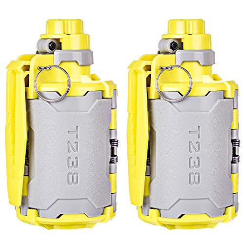 Goshfun T238 V2 Grenade, 2Pcs Tactical Foam Bullet Ball Grenade Water Bullet Bomb for Nerf CS Game - Grey + Yellow