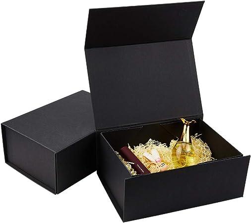 BENECREAT 2 Pack Caja Negra de Cartón de Regalo 25x17.5x10.5cm Caja de Papel con Tapa Magnética Envase Superior de Cosmético, Bellezas para Boda, Fiesta, Cumpleaños: Amazon.es: Hogar