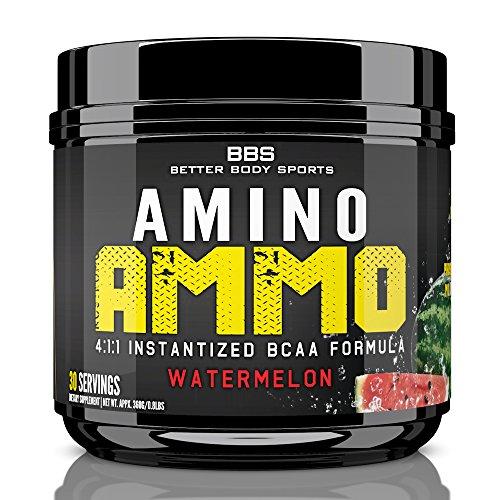 Amino Ammo branche chaîne d'acides aminés récupération supplément ! Poudre de BCAA dans un arôme de pastèque de très bon goût ! Contient 4:1:1 Ratio de Leucine, Isoleucine, Valine & ! Approuvé par les Experts en Fitness !