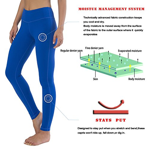 Queenie Ke Mujer Pantalón Legging Pantalon Yoga Pilate Running Ejercicio Azul