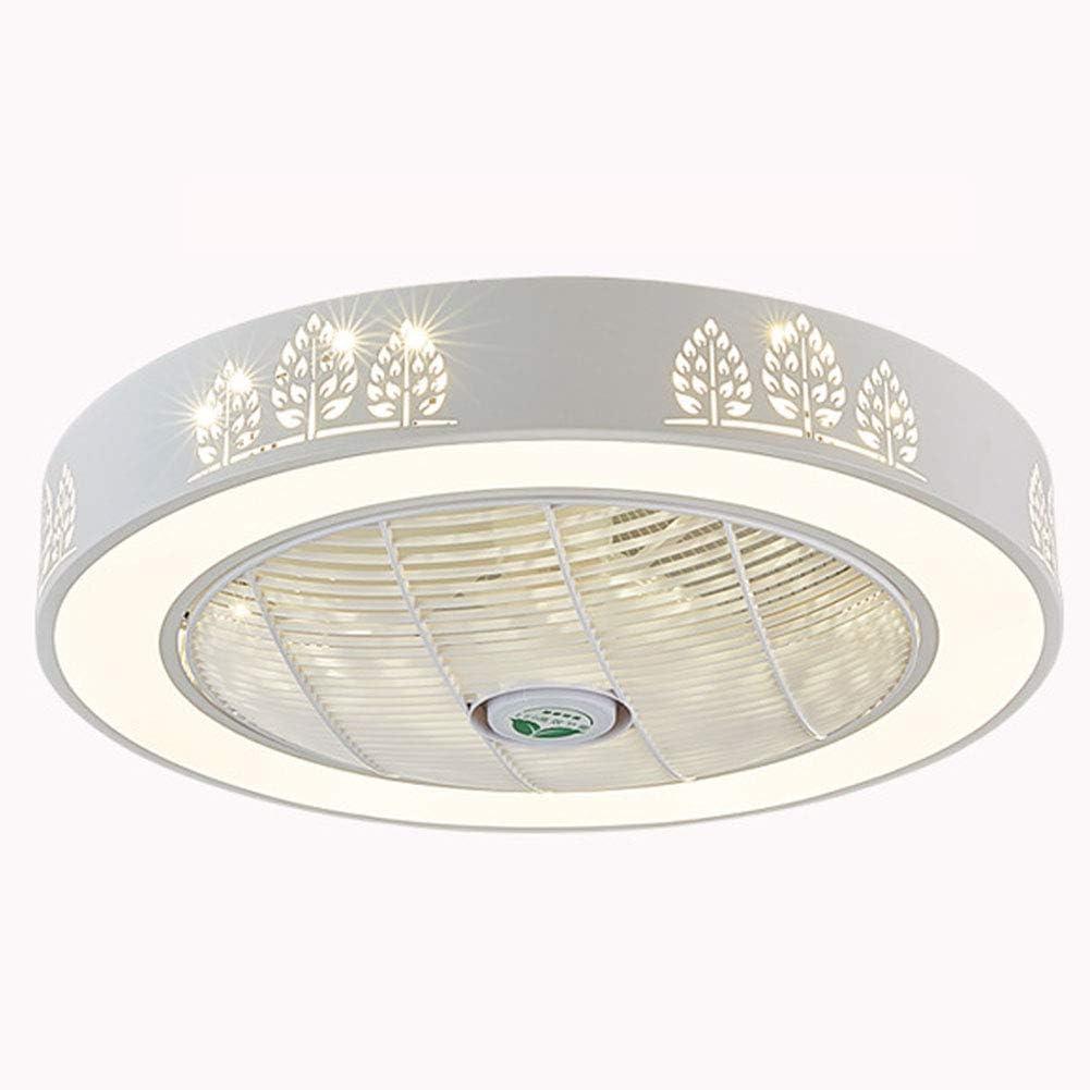 Ventilador De Techo con Luz, Invisible LED Ronda Luz Ventilador, Moderna Minimalista Luz De Techo, De 20 Pulgadas LED Ventilador Iluminación Regulable De Control Remoto De 3 Colores (Gris)