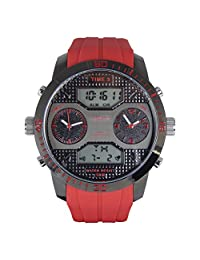 American Design Machine Men's ADS 4001 RED Twin Cities Analog-Digital Display Japanese Quartz Red Watch