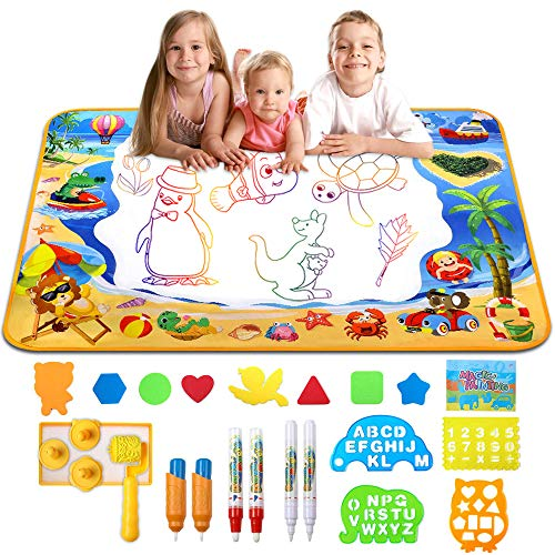 "HOMILY Doodle Mat Water Doodle Mat for Toddlers Aquadoodle Water Drawing Mat Large Magic Aqua mat for Kids Educational Toys for Toddlers Mess Free Drawing Mat Toys Gifts for Girls and Boys 40""x 28"""