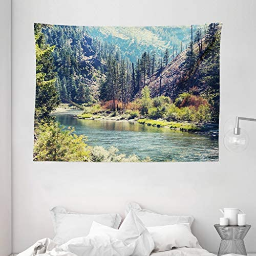 Ambesonne Landscape Tapestry, Scenic Mountain with Pine Trees and Flowing River Colorful Foliage Daytime Nature, Wide Wall Hanging for Bedroom Living Room Dorm, 80 X 60 , Night Blue