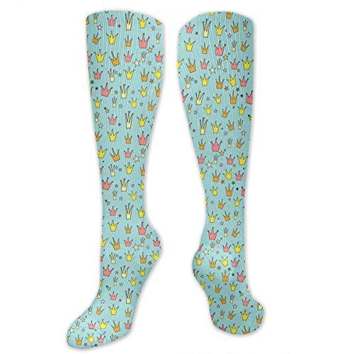 - JDISHKH Crown Princess Hiking Trekking Socks Casual Knee High Socks for Running,Medical,Athletic,Edema,Travel,Pregnancy,Nursing