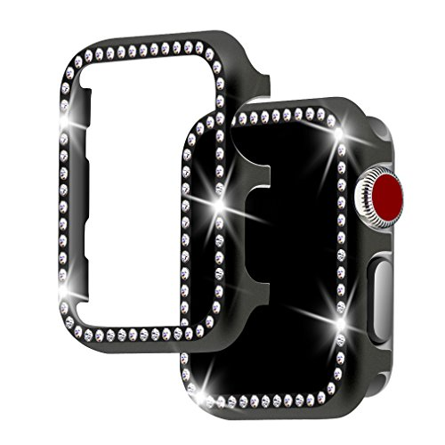 Case Rhinestone Watch (For Apple Watch Case 38mm, Falandi Apple Watch Face Case with Bling Crystal Diamonds Plate iWatch Case cover Protective Frame for Apple Watch Series 3/2/1 (Black-Diamond, 38mm))