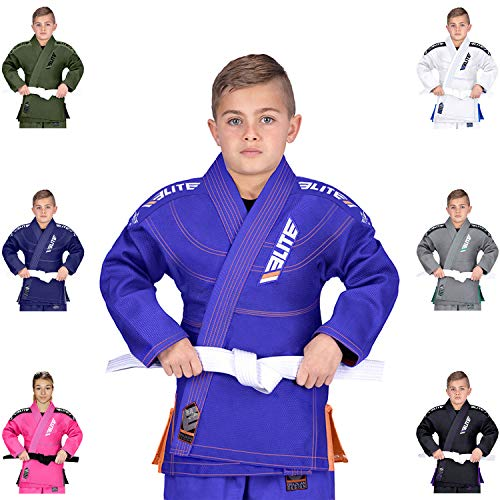 - Elite Sports IBJJF Ultra Light BJJ Brazilian Jiu Jitsu Gi for Kids with Preshrunk Fabric and Free Belt, C2, Blue