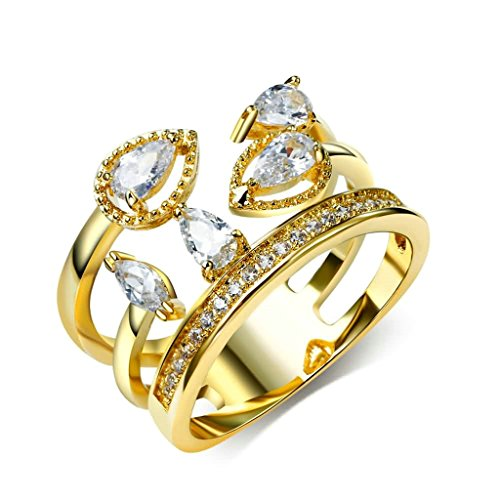 Gnzoe Women's Stainless Steel Promise Rings Drop Pear Shaped Cubic Zirconia Gold Size ()