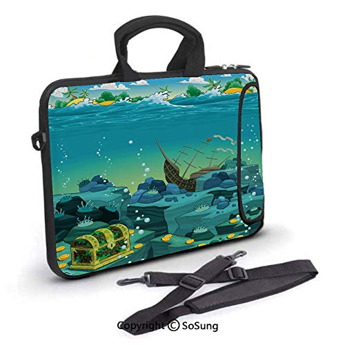 10 inch Laptop Case,Seascape Underwater with Treasure Galleon and Sunk Ship Pirate Kids Print Neoprene Laptop Shoulder Bag Sleeve Case with Handle and Carrying & External Side Pocket,for Netbook/MacBo (Galleon Pirate Ship)