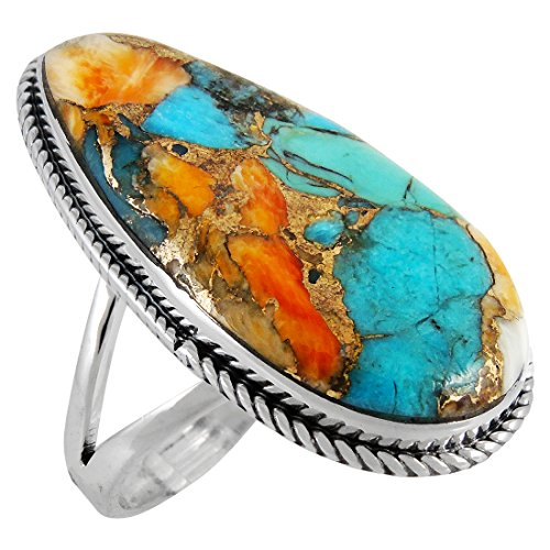 Spiny Turquoise Ring Sterling Silver 925 Genuine Turquoise Size 6 to 12