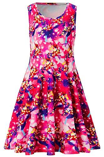 Funnycokid Summer Sleeveless Starry Unicorn Dresses for Little Girls 8-9 Years