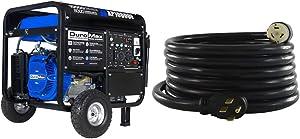 DuroMax XP10000E Gas Powered Portable Generator-10000 Watt Electric Start-Home Back Up & RV Ready, 50 State Approved, Blue/Black & Conntek 1450SS2-15 50 Amp Temp Power Generator Cord, 15 Feet, Black