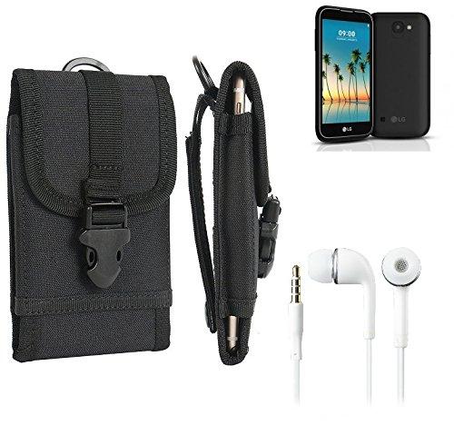 bolsa del cinturón / funda para LG Electronics K3 (2017), negro + Auriculares   caja del teléfono cubierta protectora bolso - K-S-Trade (TM)