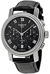 Tissot Men's 'Bridgeport' Swiss Automatic Stainless Steel and Leather Casual Watch, Color:Black (Model: T0974271605300)