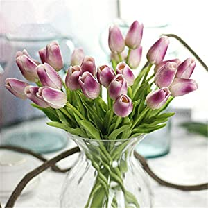 JONARO 10PC Tulips Artificial Flowers Real Touch PU Decor Bouquet Tulip for Home Wedding Decoration Flower 61