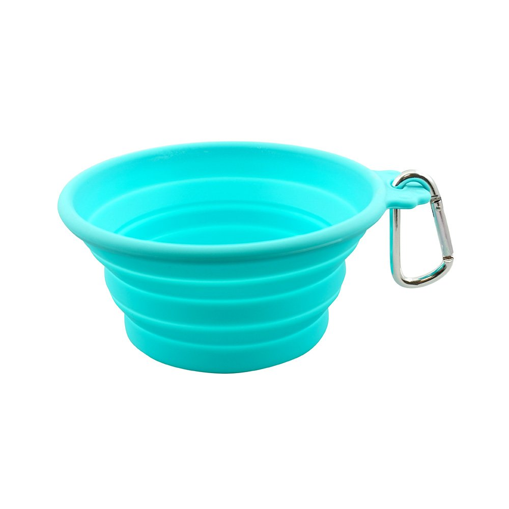 FFDPET Silicone Collapsible Travel Bowl for Dogs & Cats, Medium, Teal