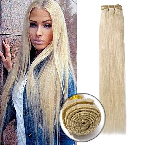 20 Inch 7A Brazilian Human Hair Bundle Blonde Straight Sew in Hair Weft Weave Extensions 100g/Bundle #60 Platinum Blonde