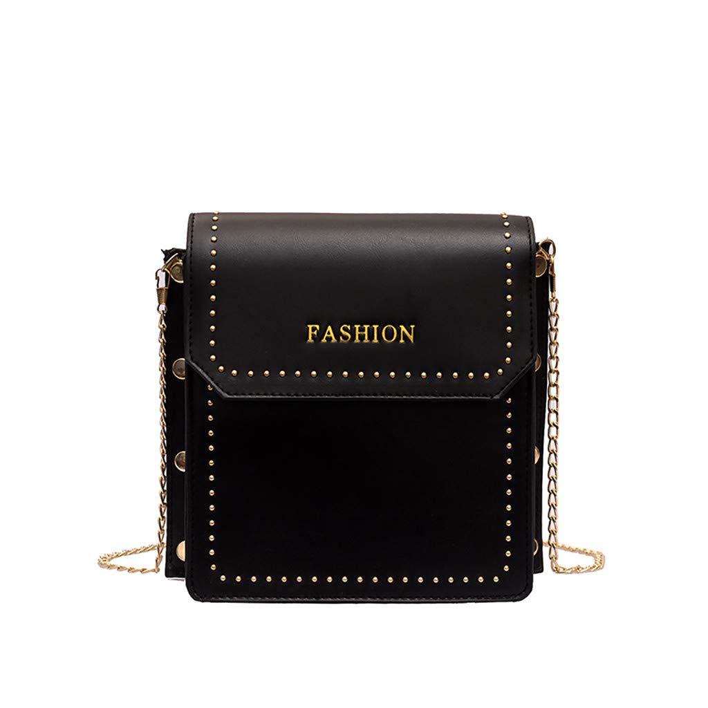 Handbags for Women,Backpack Purse Large,Women Rivet Simple Versatile Messenger Bag Small Square Bag Black