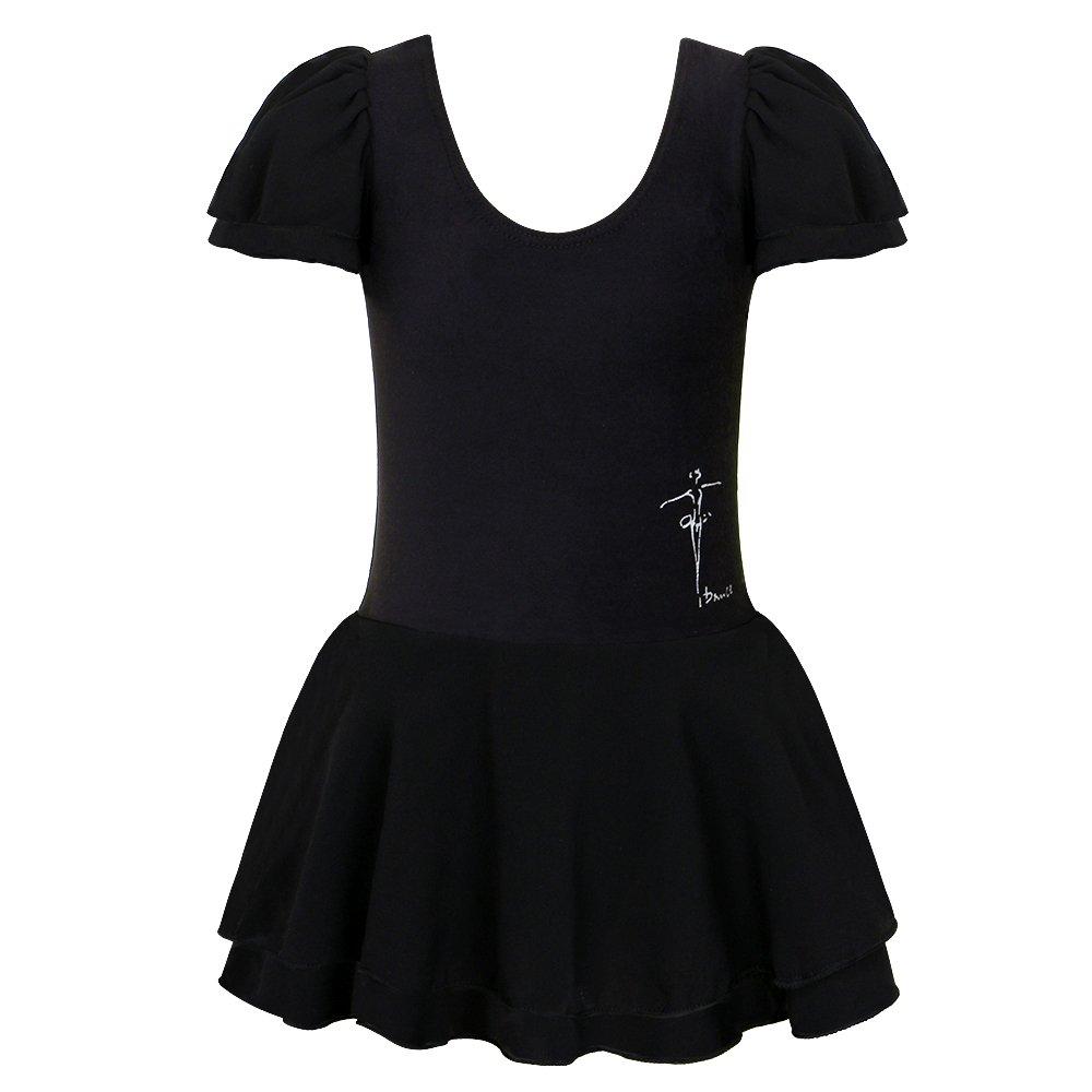 BHL Kids Girls Dance Leotard 3-14 Years Ruffle Sleeve (4, Black)