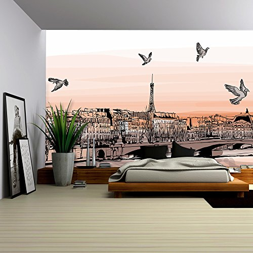 Vector View of Paris from Pont Des Arts Vector Illustration