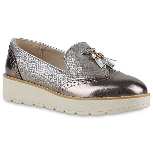 Damen Slipper Lack Plateau Loafers Metallic Schuhe