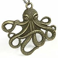 UMBRELLALABORATORY Steampunk Octopus Necklace | Estilo victoriano, accesorio dorado hecho a mano de pirata