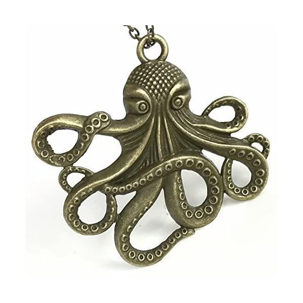 Steampunk Octopus Necklace | Victorian Style, Antique Finish Handmade Pirate Accessory 3