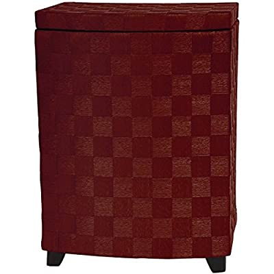 "Oriental Furniture 27"" Natural Fiber Laundry Hamper - Mahogany - Simple rattan style lidded clothes hamper, apprx. 27.5"" t by 19.75"" w by 15"" d Strong, light, cross weave natural plant fiber cord, 5 beautiful deep dyed colors Easy to pack, move, store, arrives fully assembled-hinged lid - laundry-room, hampers-baskets, entryway-laundry-room - 51L9vMtvkkL. SS400  -"
