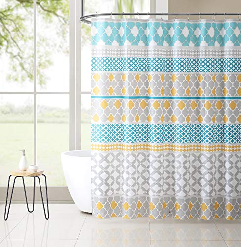Victoria Classics PEVA Shower Curtain Liner Odorless, PVC and Chlorine Free, Biodegradable, Mildew Free, Eco-Friendly Size 72in x 72in (Jordan Blue & Gold)