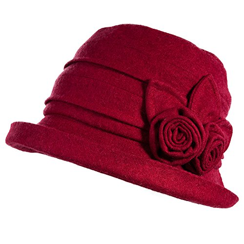 Fancet 39% Wool Felt Derby Gatsby Hat for Women 1920s Fedora Vintage Winter Bucket Fall Winter Bowler Cloche Beret Burgundy Red 56-58cm