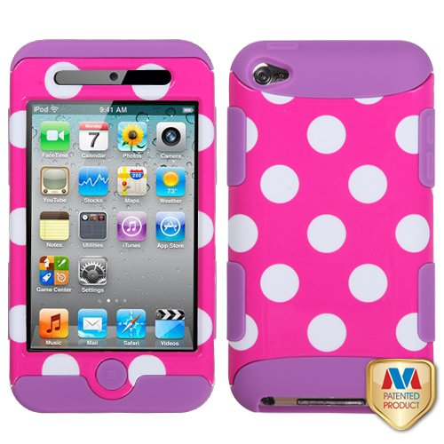 White Polka Dots(Hot Pink)/Electric Purple TUFF Hybrid Phone Protector Cover