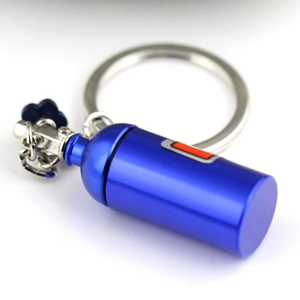 Maycom Creative New Blue NOS Mini Nitrous Oxide Bottle Keyring Key Chain Ring Keyfob Stash Pill Box Storage Turbo Keychain 86121