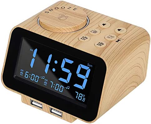 USCCE Digital Alarm Clock Radio – 0-100 Dimmer, Dual Alarm with Weekday Weekend Mode, 6 Sounds Adjustable Volume, FM Radio w Sleep Timer, 2 USB Charging Ports, Thermometer, Battery Backup Wood Grain