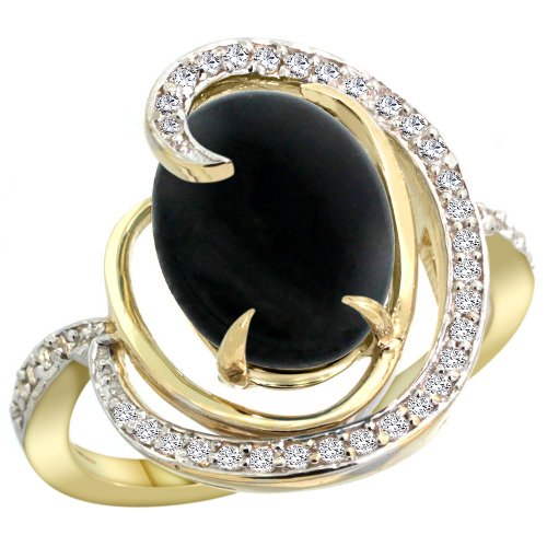 14k Yellow Gold Natural Black Onyx Ring Oval 12x10mm Diamond Accents, size 6 14k Yellow Gold Onyx Ring
