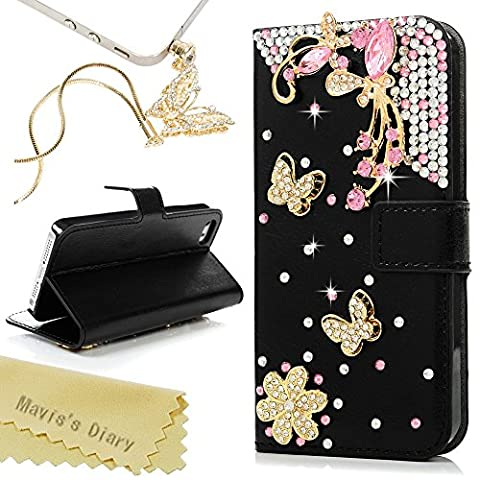 iPhone SE Case,iPhone 5S Case,iPhone 5 Case - Mavis's Diary 3D Handmade Bling Luxury Wallet Pink Crystal Butterfly Diamonds Flowers Black PU Leather Card Holders Flip Cover with Golden Dust (5s Cases Special)