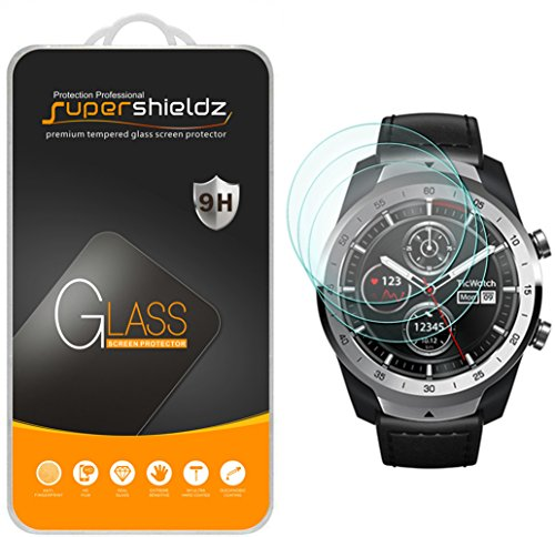 (3 Pack) Supershieldz for TicWatch Pro and Ticwatch Pro 4G LTE Tempered Glass Screen Protector, (Full Screen Coverage) Anti Scratch, Bubble Free