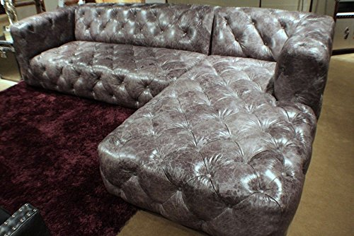 sectional Vintage gray leather Tufted Sofa LSF loveseat RSF chaise modern