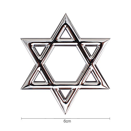 Silver Hexagram Star of David Chrome Boot Trunk Rear Auto Car Emblem Side Wing Badge Sticker