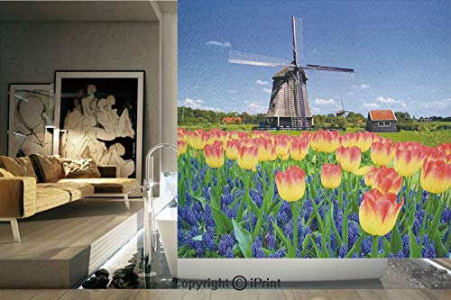 Decorative Privacy Window Film/Tulip Blooms with Classic Dutch Windmill Netherlands Countryside Spring Picture/No-Glue Self Static Cling for Home Bedroom Bathroom Kitchen Office Decor Yellow Blue