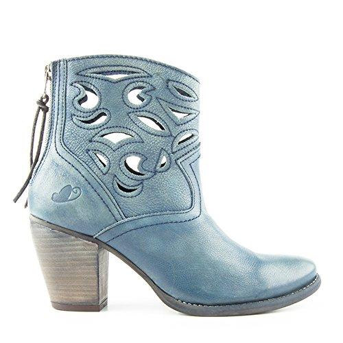 Felmini - Zapatos para Mujer - Enamorarse con Pink 8277 - Botas - Cuero Genuino - Azul