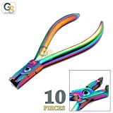 G.S SET OF 10 MULTI TITANIUM COLOR RAINBOW DISTAL END CUTTER ORTHODONTIC INSTRUMENTS BEST QUALITY