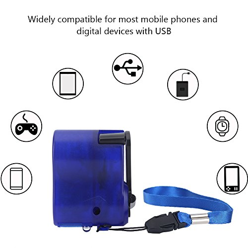 Fosa Universal Portable Emergency Hand Power Dynamo Hand Crank USB Charger for Travel, - Dynamo Crank Hand